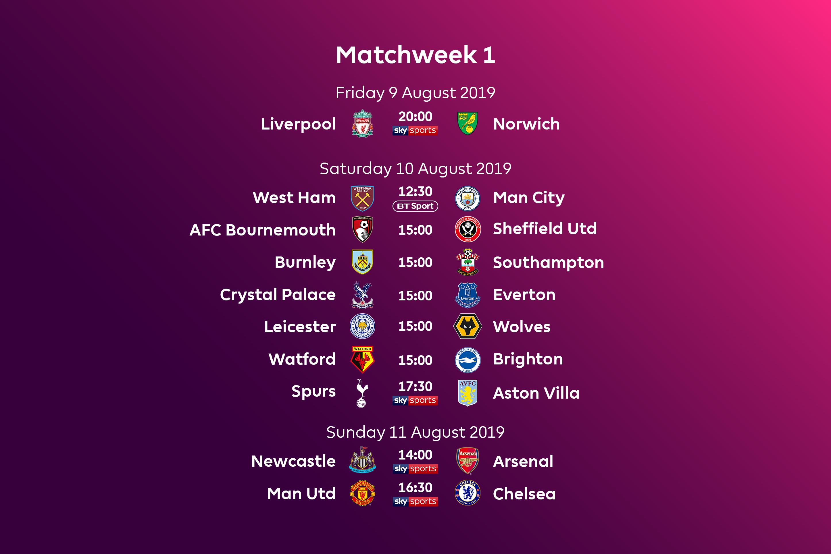 English Premier League Fixtures 2019-2020